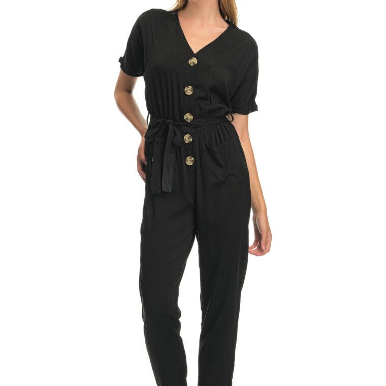 Ολόσωμη φόρμα με κουμπιά,τσέπες και ζώνη μαύρη