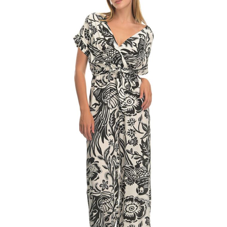 Ολόσωμη φόρμα με μοτίβο άσπρων λουλουδιών και ζώνη μαύρη
