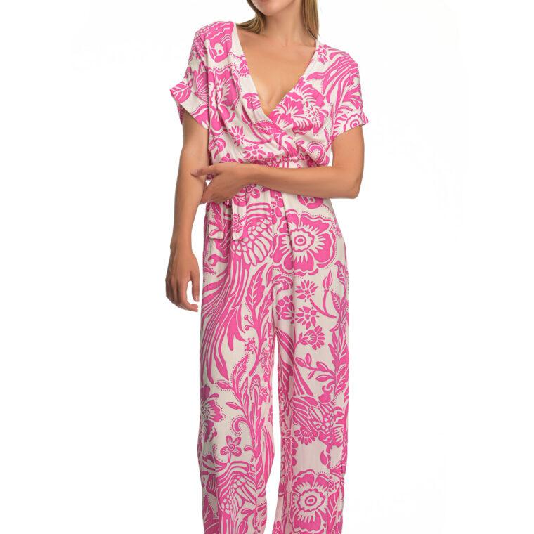 Ολόσωμη φόρμα με μοτίβο άσπρων λουλουδιών και ζώνη ροζ