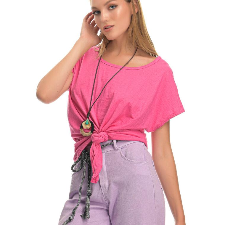 Μπλούζα βαμβακερή με δέσιμο και κολιέ φούξια