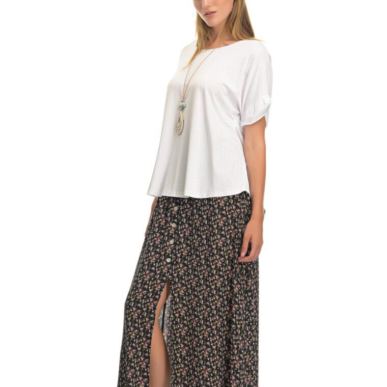 Φούστα φλοράλ μακριά με διακοσμητικά κουμπιά και λάστιχο άσπρη