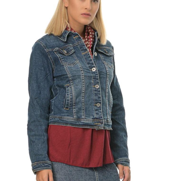 Μπλε τζιν κοντό μπουφάν με τσέπες και κουμπιά