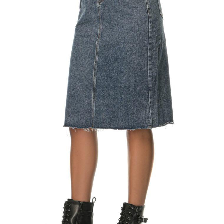 Μπλε τζιν ψηλόμεση ελαστική φούστα midi με σούρες στη μέση