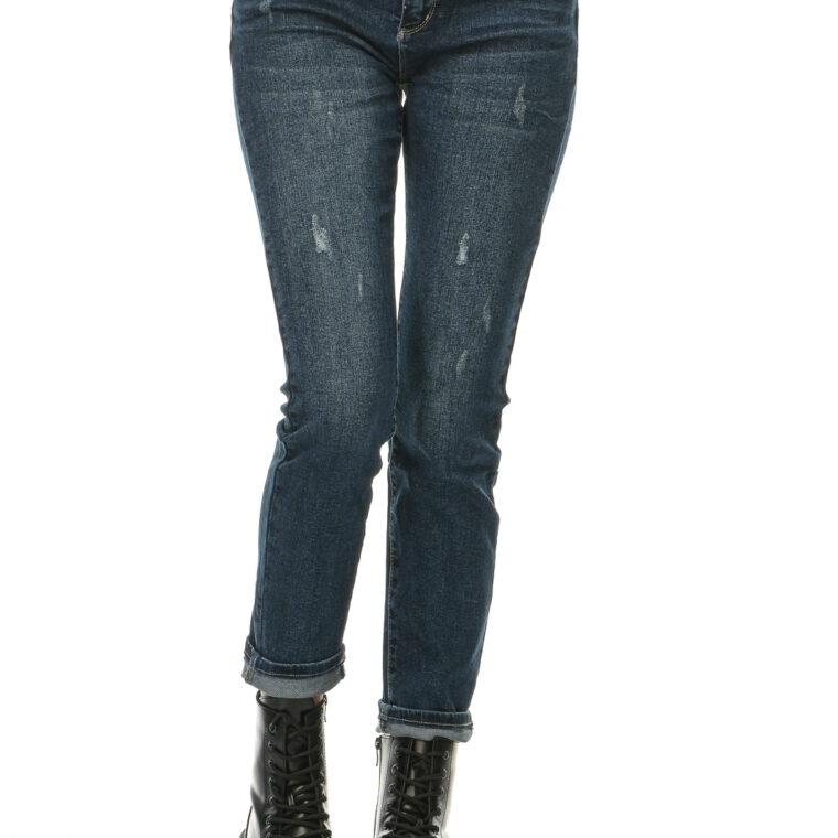Τζιν παντελόνι ελαστικό με σκισίματα μεγάλα μεγέθη μπλε