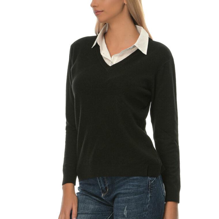 Μπλούζα με V λαιμόκοψη και ενσωματωμένο άσπρο πουκάμισο στο γιακά του μαύρη