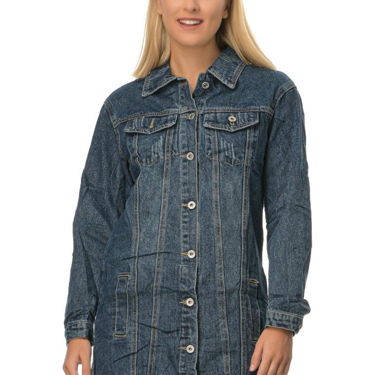 Μπλε τζιν μακρύ μπουφάν με τσέπες και κουμπιά