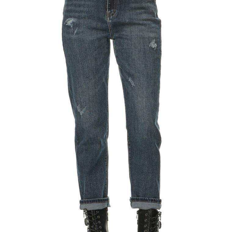 Τζιν μπλε ψηλόμεσο boyfriend παντελόνι με σκισίματα