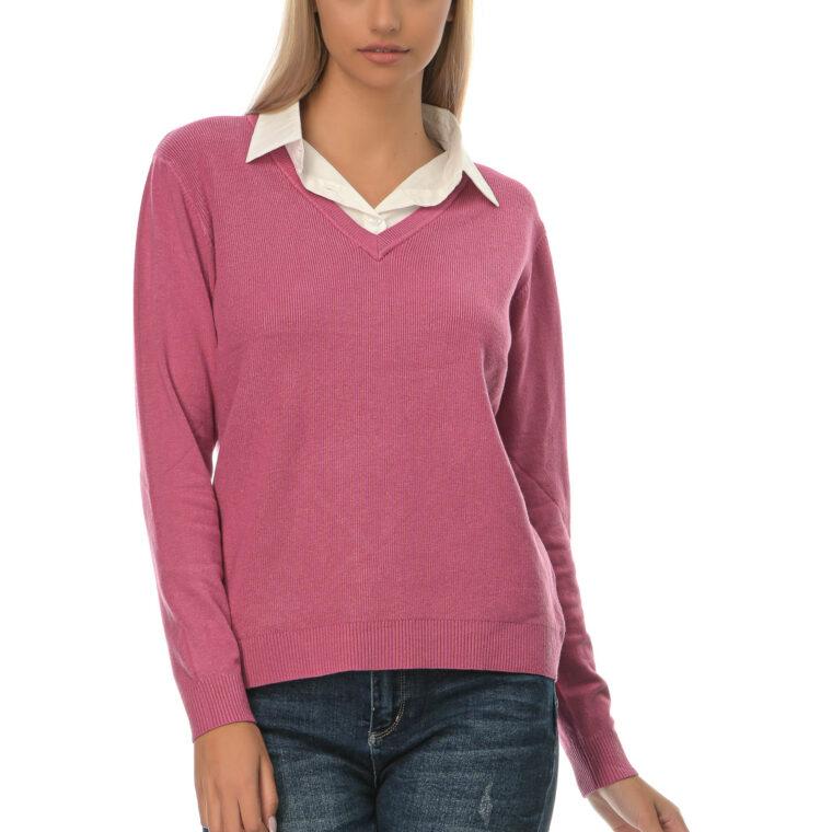 Mπλούζα με V λαιμόκοψη και ενσωματωμένο άσπρο πουκάμισο στο γιακά της ροζ