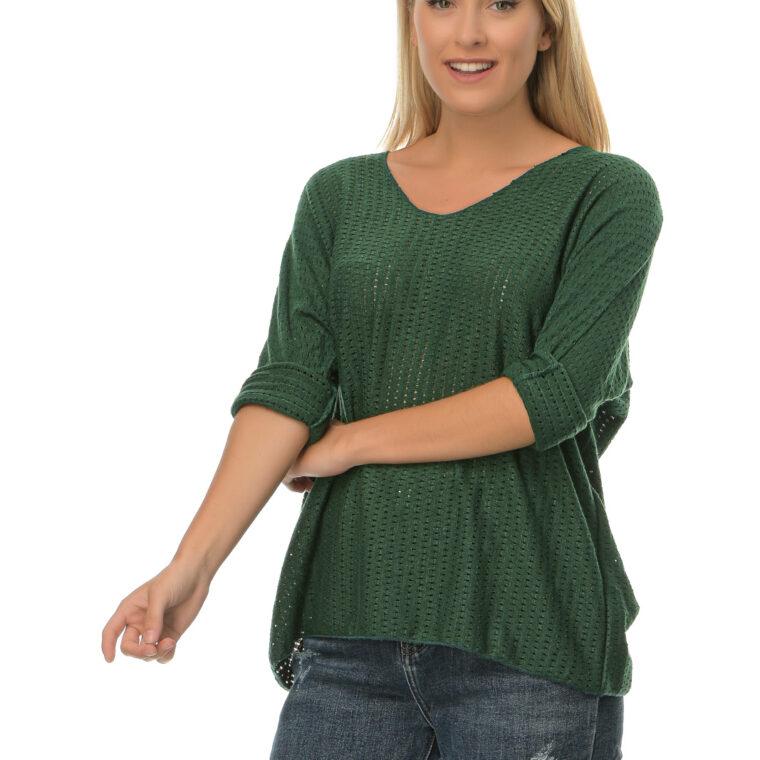 Μπλούζα με V λαιμόκοψη τρυπητή πράσινη