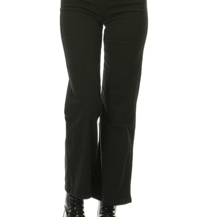 Μαύρο τζιν ψηλόμεσο ελαστικό παντελόνι καμπάνα