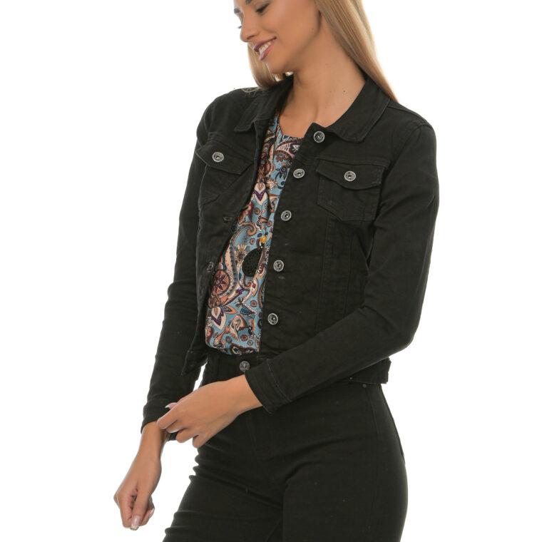 Μαύρο τζιν μπουφάν κοντό με κουμπιά και τσέπες