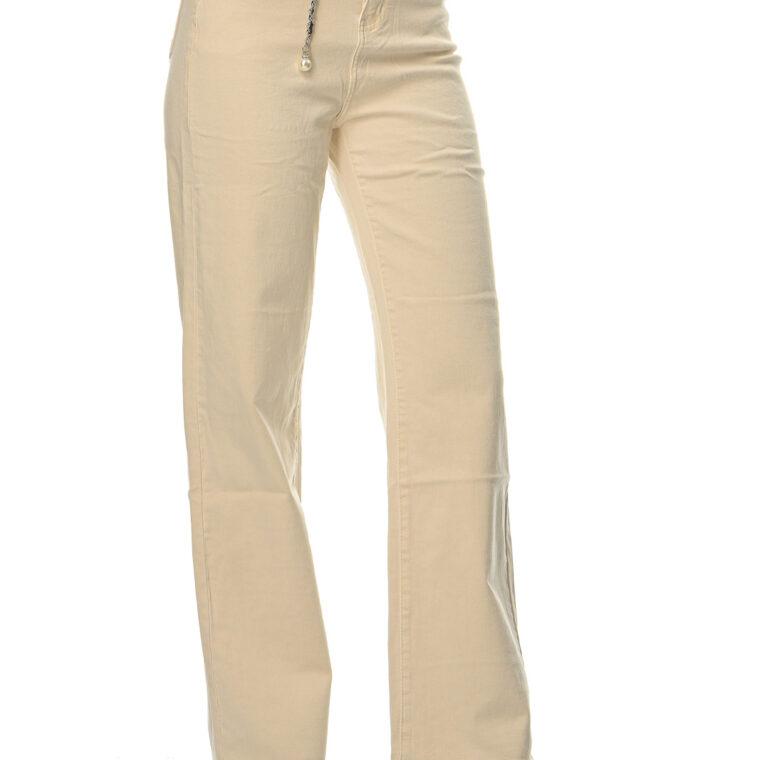 Μπεζ ψηλόμεσο ελαστικό παντελόνι καμπάνα με ιδιαίτερη ζώνη