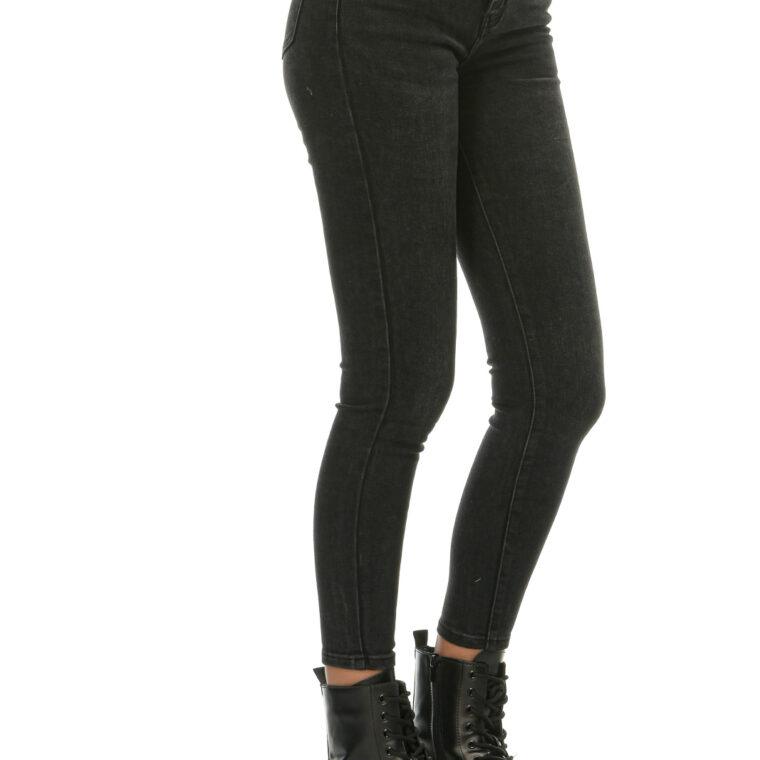Μαύρο ψηλόμεσο τζιν παντελόνι με κουμπιά