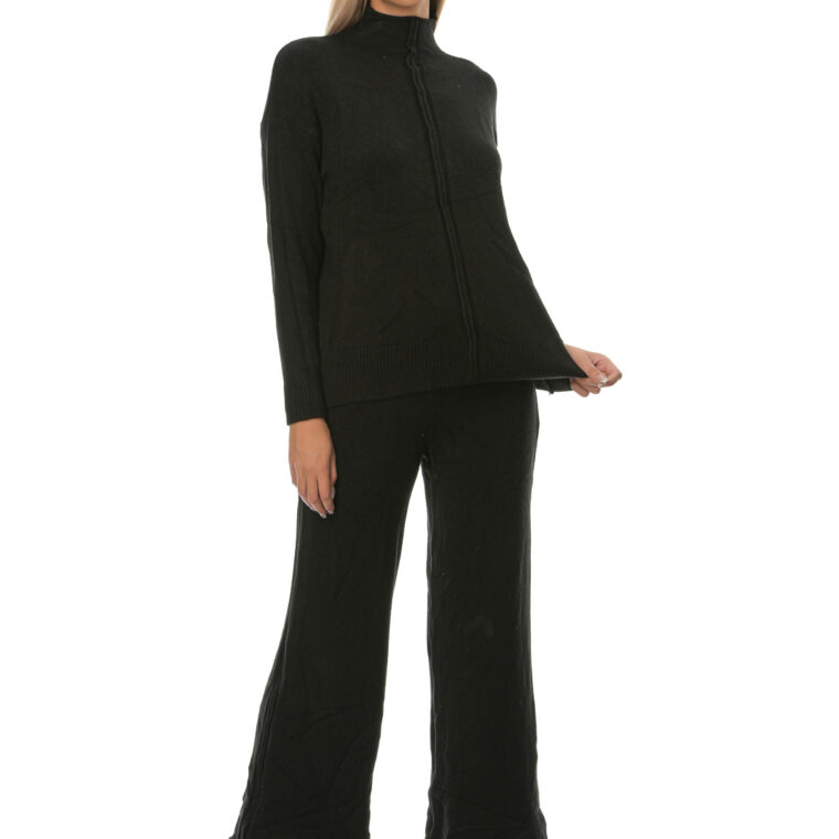 Σετ πλεκτό με μπλούζα και παντελόνι μαύρο