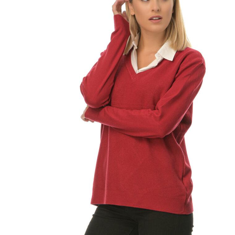 Μπλούζα με V λαιμόκοψη και ενσωματωμένο άσπρο πουκάμισο στο γιακά της κόκκινη