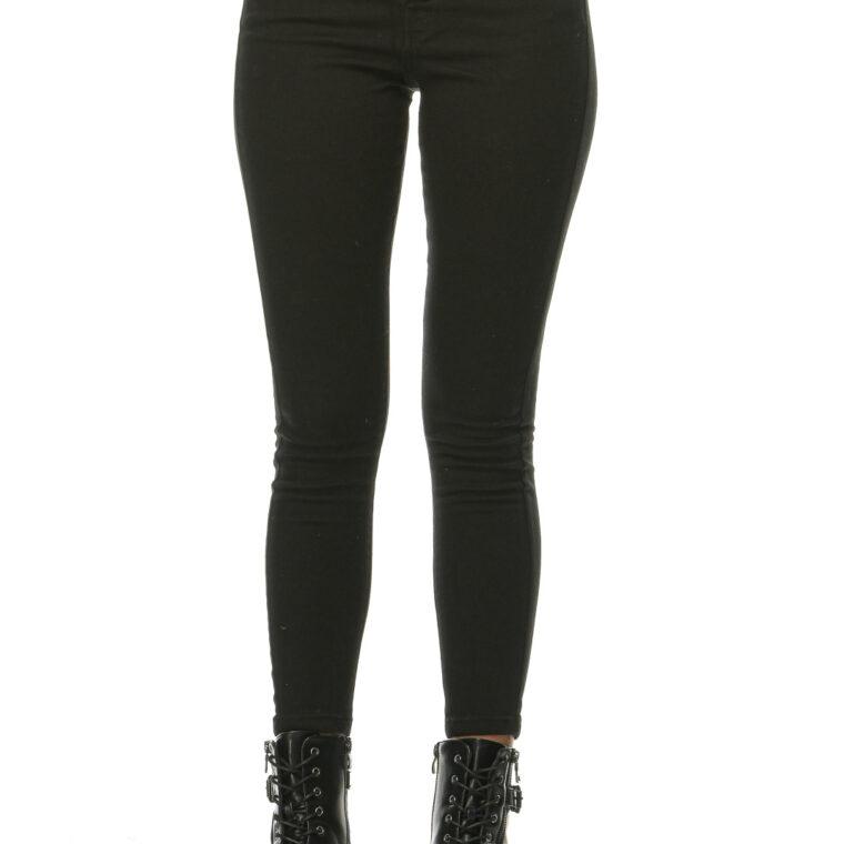 Μαύρο ψηλόμεσο ελαστικό παντελόνι με κουμπιά