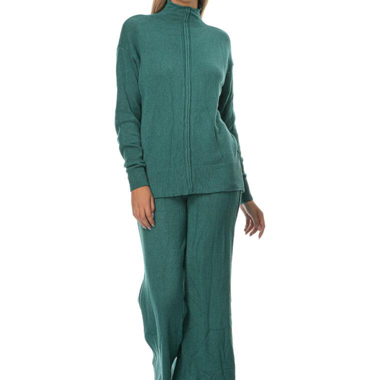 Σετ πλεκτό με μπλούζα και παντελόνι πράσινο