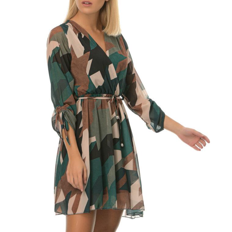 Φόρεμα κρουαζέ κοντό σε πράσινες αποχρώσεις με ζώνη