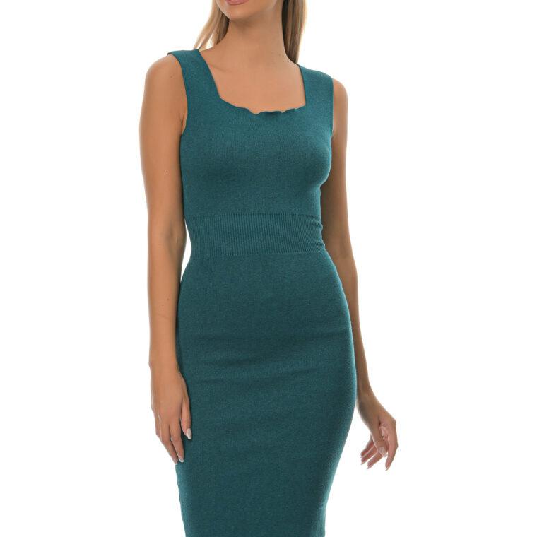 Φόρεμα πλεκτό αμάνικο ελαστικό midi πετρόλ