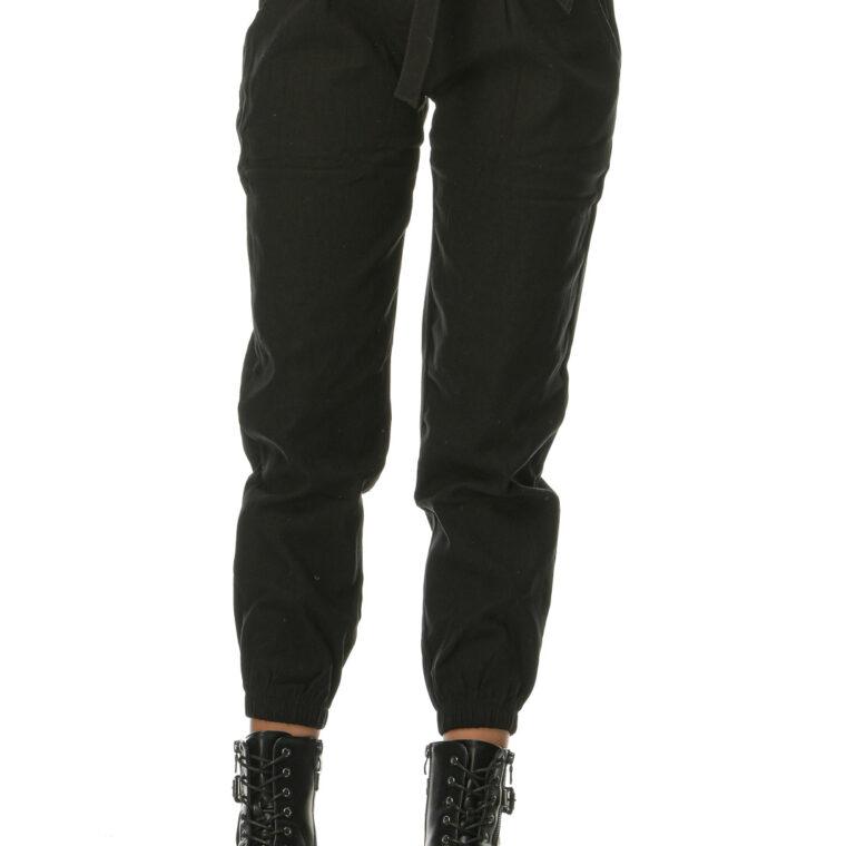 Μαύρο ψηλόμεσο παντελόνι με διακοσμητικά κουμπιά και ζώνη