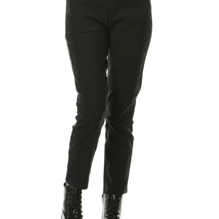Μαύρο ψηλόμεσο ελαστικό παντελόνι κολάν με τσέπες