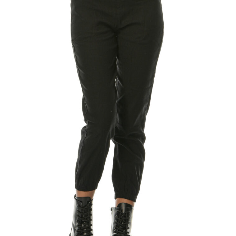 Μαύρο ψηλόμεσο ελαστικό παντελόνι κολάν με διακοσμητικά κουμπιά