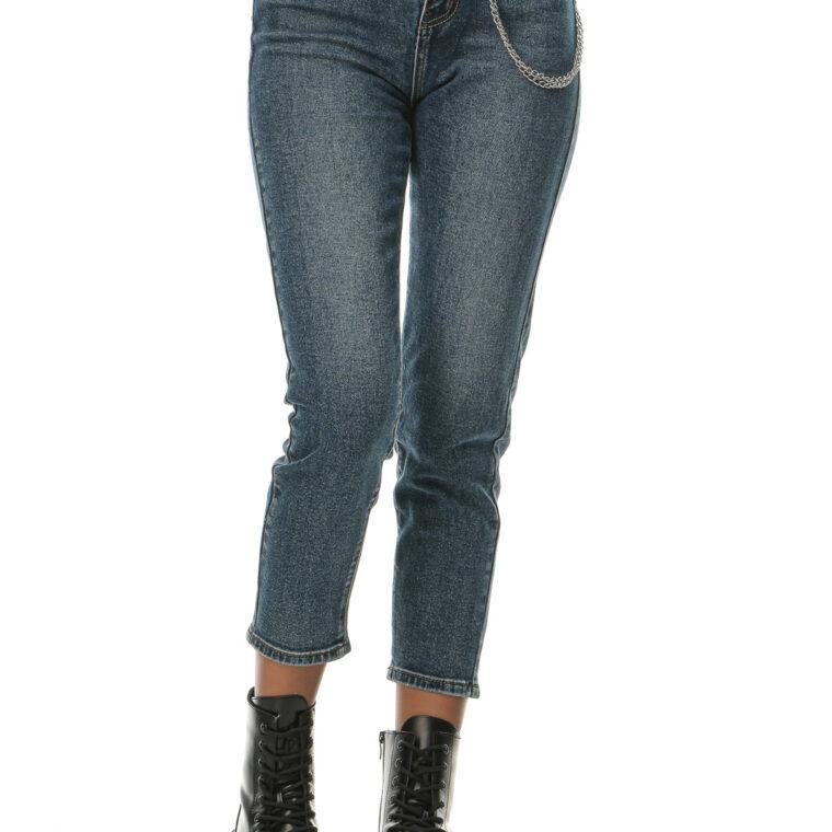 Μπλε ψηλόμεσο τζιν παντελόνι φαρδύ με μαύρη ζώνη και αποσπώμενη αλυσίδα