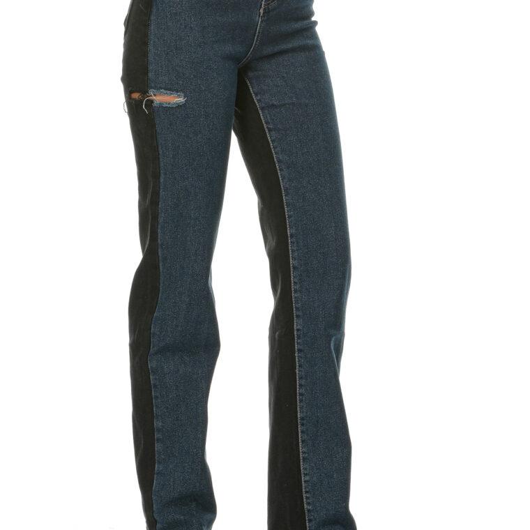 Διπλό ψηλόμεσο ελαστικό τζιν παντελόνι(μπροστά μπλε χρώμα και πίσω μαύρο)